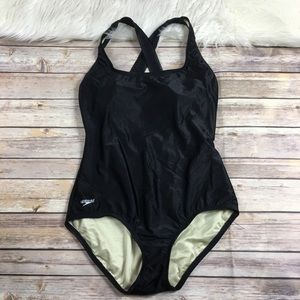 Speedo one piece swimsuit black size 10